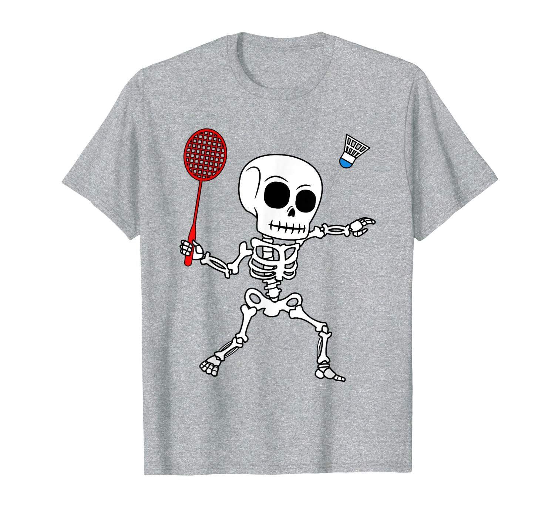 Skeleton Badminton Halloween Smash Shuttlecock Easy Costume T-Shirt #easycostumesformen