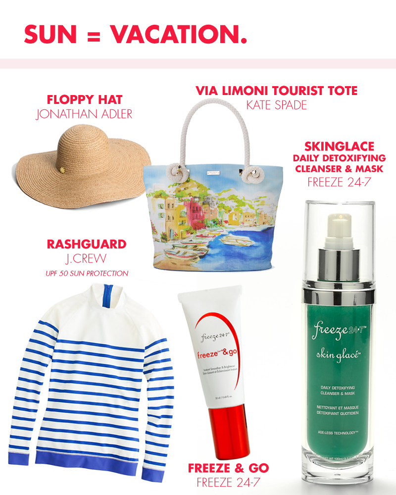 Sunshine has us planning for a #getaway. Here are some of our favorite #vacation must-haves. SkinGlace is a perfect two in one for your toiletry kit while Freeze & Go defends skin against free radicals and environmental aggressors under the sun! | Freeze247