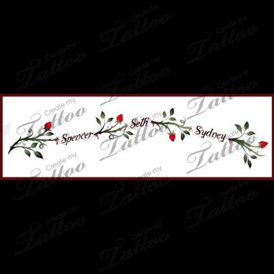 Ankle vine/childrens names tattoo