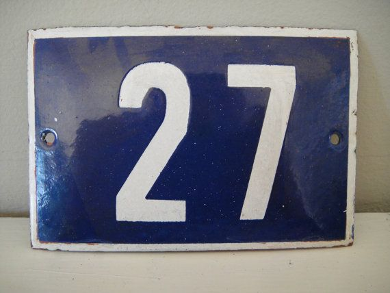1930s french house number blue and white porcelain enamel tin european sign home door number 27 twenty seven numbers