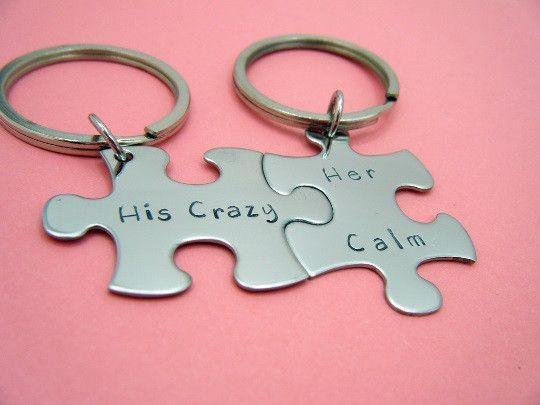 His crazy her calm couples keychains anniversary gift