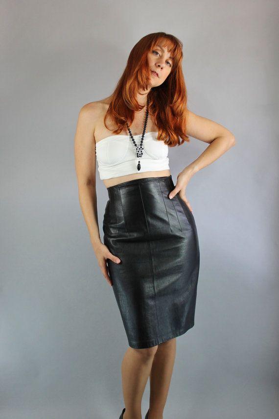 80/'s high waist leather skirt