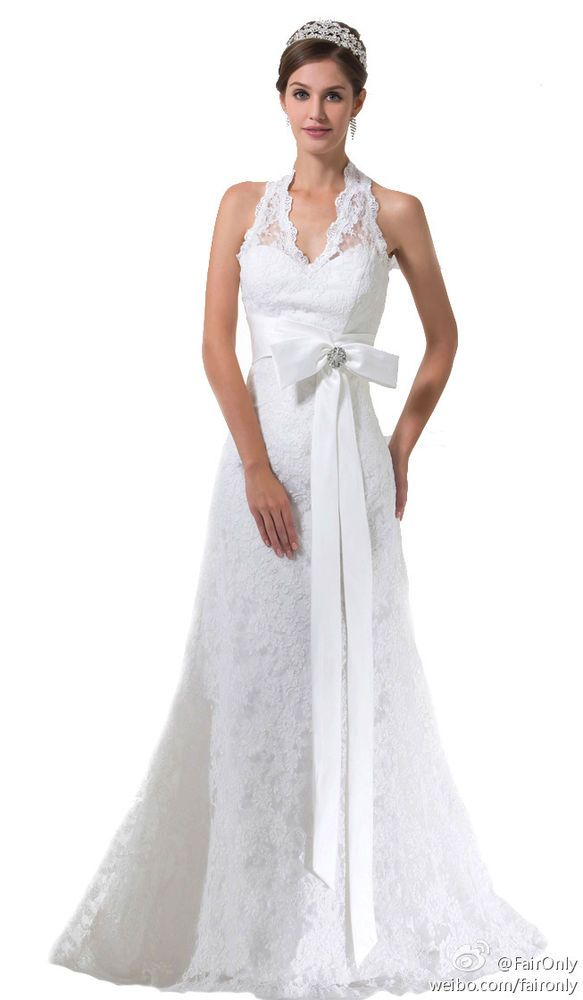 Faironly New Halter Wedding Dress Bridal Gown Custom Size 6 8 10 12 14 16++