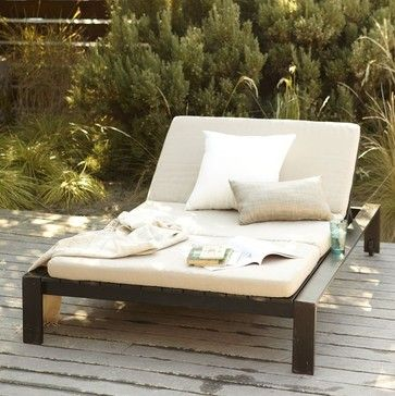 Stupendous Wood Slat Double Lounger Modern Outdoor Chaise Lounges Ibusinesslaw Wood Chair Design Ideas Ibusinesslaworg