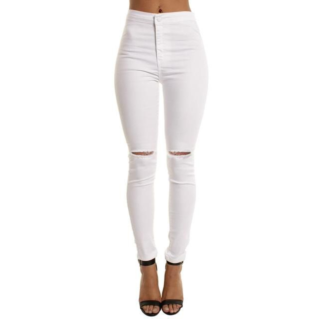 7bf20d4a2f3268 white hole ripped jeans Women jeggings cool denim high waist pants capris  Female skinny black casual jeans