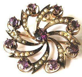 10k Victorian Brooch/Necklace–Purple Stones