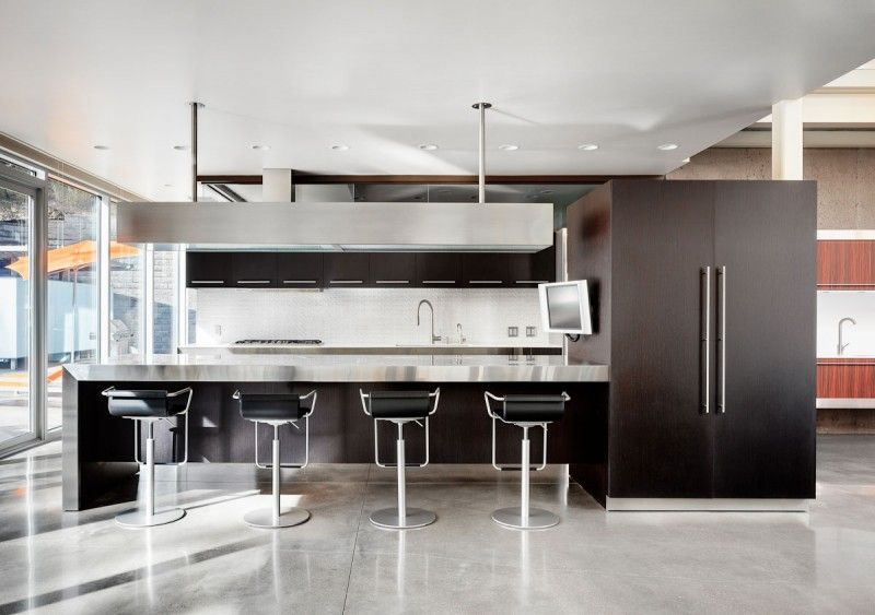 Modern Kitchen With Bar The Zinc Housenew Homes & Land  Modern Bar Stools Island .