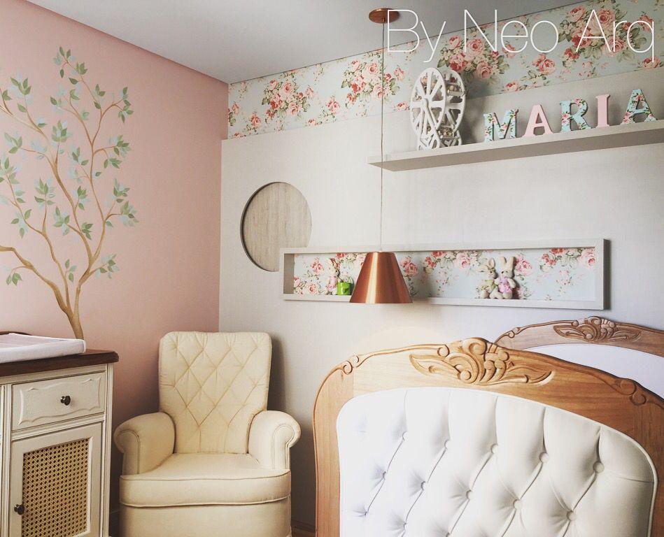 Projeto de quarto de bebê feminino e romântico com ares provençais. By NeoArq / SP - Brasil