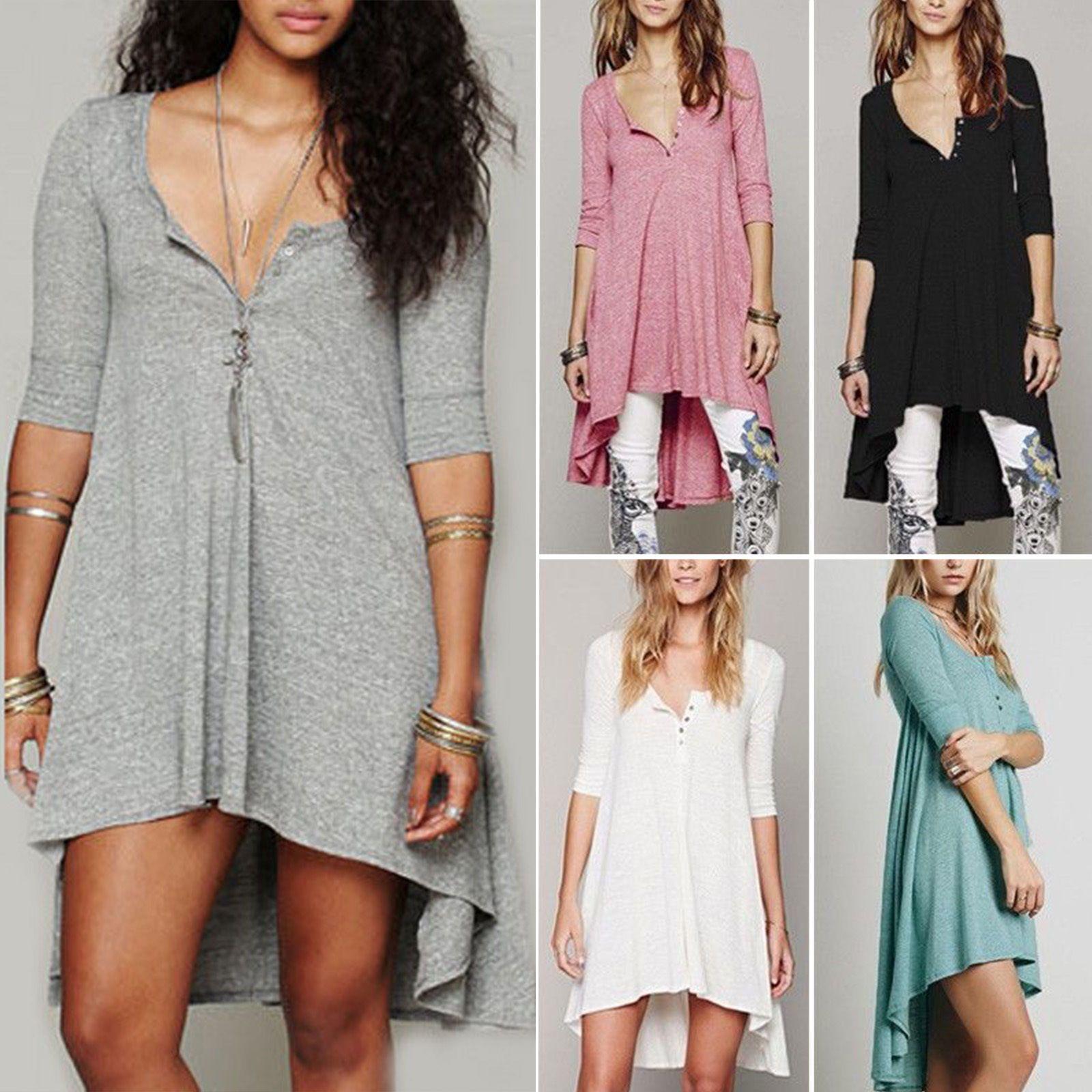 Women Plus Size Short Sleeve T Shirt Pullover Loose Top Hoodie Mini Dress Jumper