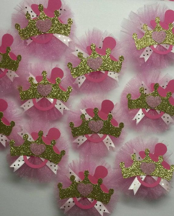 12 Pink Gold Guest Pins Mommy To Be Corsage Princess Tiara Crown