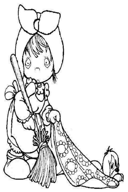 Precious Moments Girl With Flowers Coloring Pages For