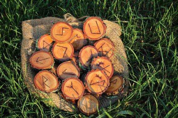Wood Burned Oak Rune Set by FairyFresh on Etsy, $25.00