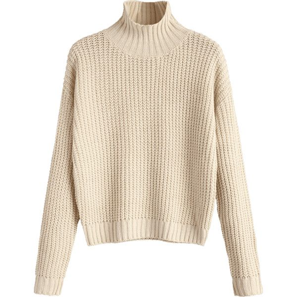 e0fcaf906251bc Turtleneck Chunky Sweater Apricot S ( 17) ❤ liked on Polyvore featuring tops