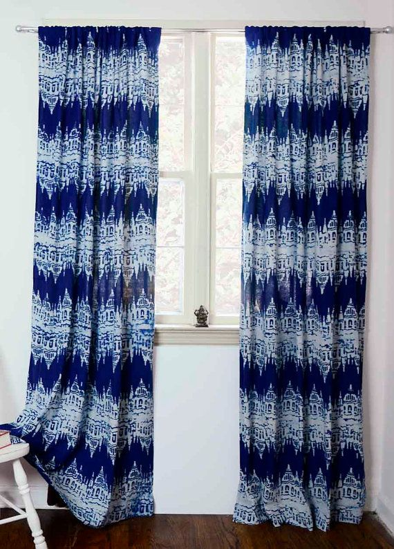 navy blue ika curtains panels dark blue window Block Print Cotton Bedroom drapes Window Treatments bohemian ONE Panel 44w x 108L Killa Ikat is part of bedroom Blue Window - my ichcha Webiste  www ichcha com Instagram @myichcha