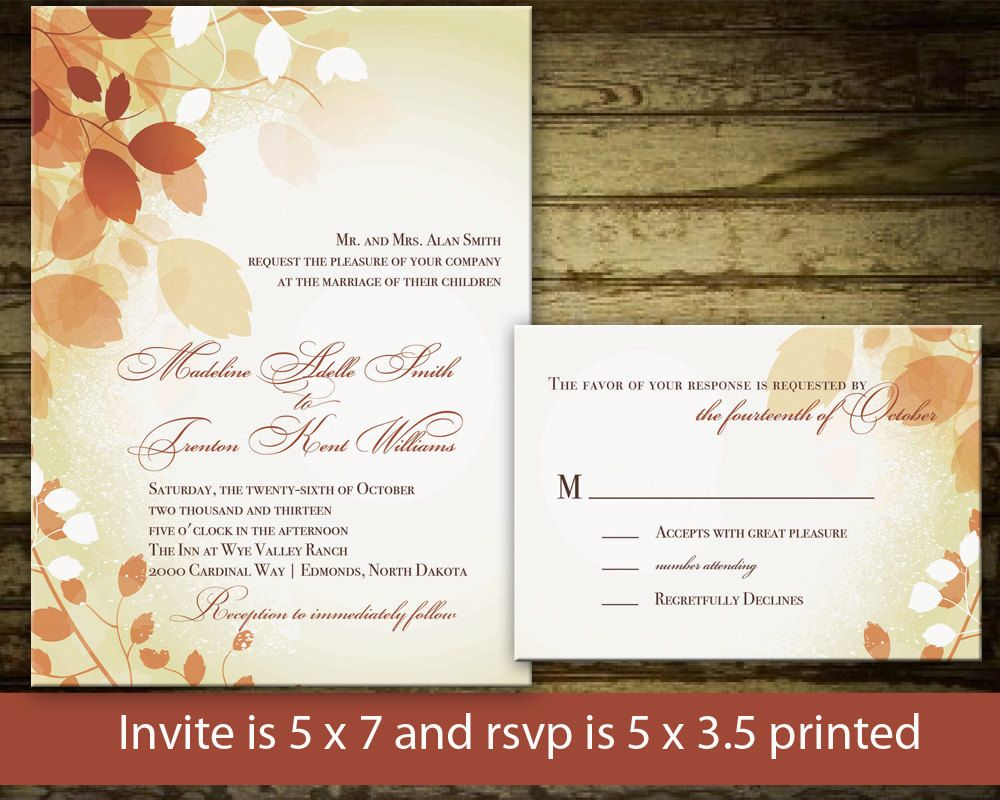 Printable Fall Wedding Invitation Autumn Leaves By NotedOccasions