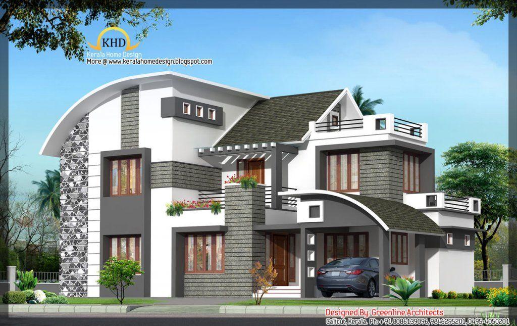 Modern Contemporary Elevation Ft Kerala Home Design - Greenline
