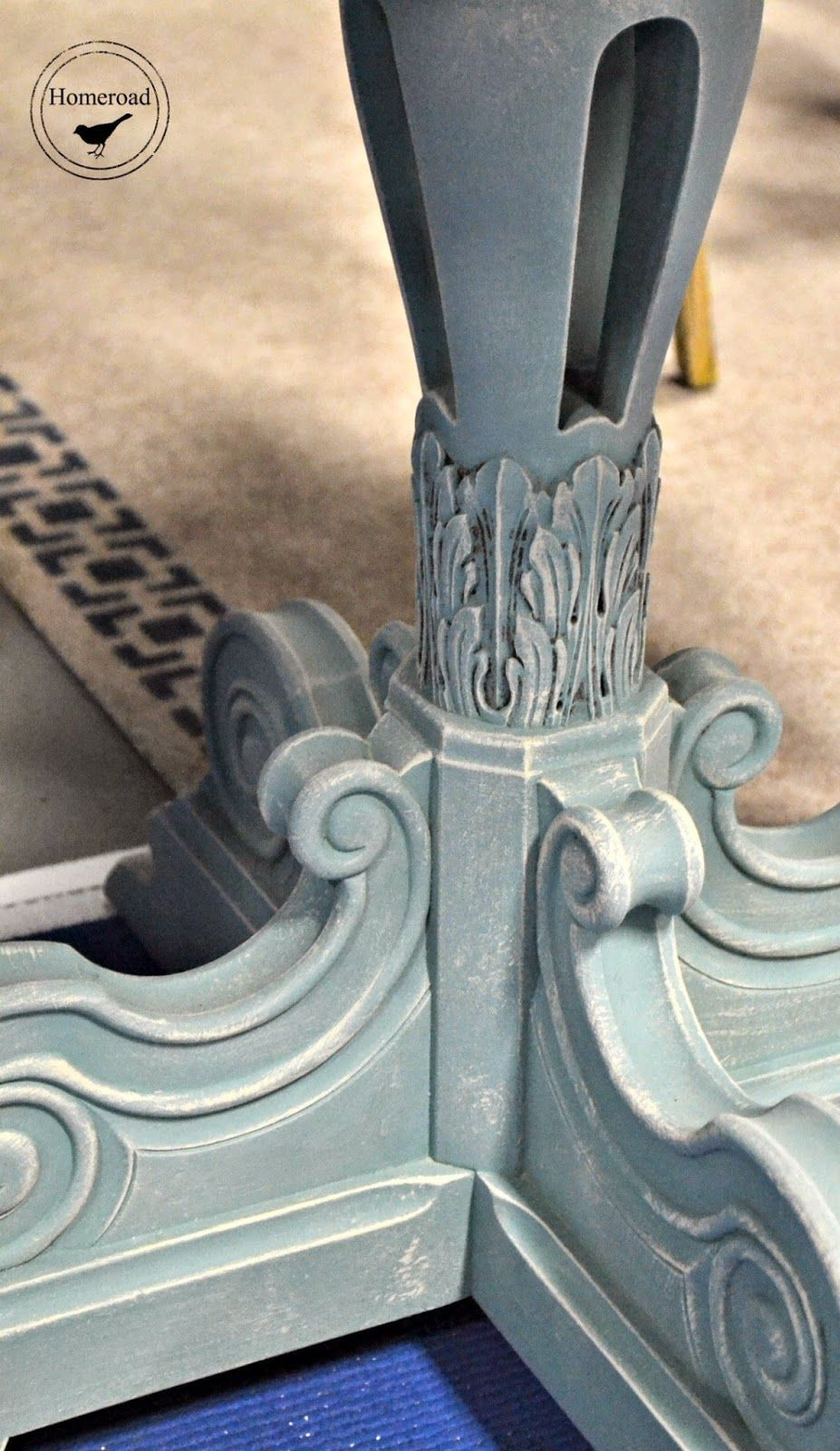 Suite Pieces at the Home Show... I love this dry brush on Duck Egg blue details... www.homeroad.net