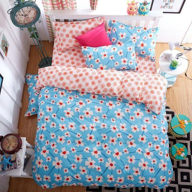New Fashion Bedding Set 4pcs/3pcs Duvet Cover Sets Soft Polyester Bed Linen Flat Bed Sheet Set Pillowcase Home Textile Drop Ship