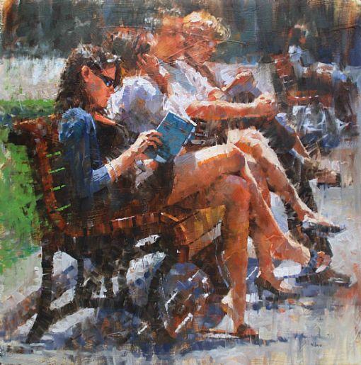 Lendo no parque, s/d  Mark Lague ( Canada, 1964)  óleo sobre tela, 75 x 75 cm