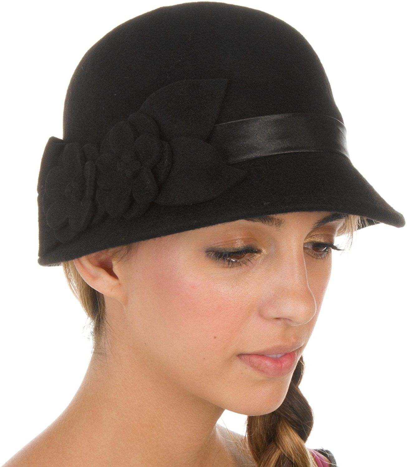 Black Vintage Style Felt Hat accented with flower