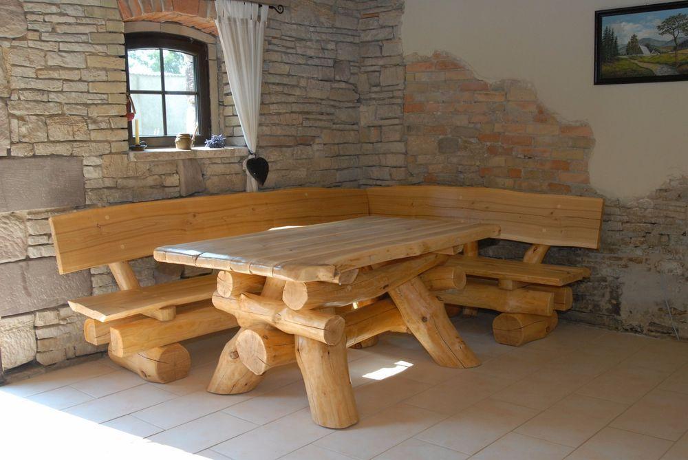 Rustikale Gartenmöbel, Holz Massiv, Sitzgruppe, Tisch