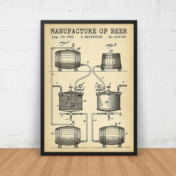 Beer art beer manufacturing blueprint beer invention patent beer art beer manufacturing blueprint beer invention patent digital download blueprint art vintage beer art man cave gift bar decor malvernweather Choice Image