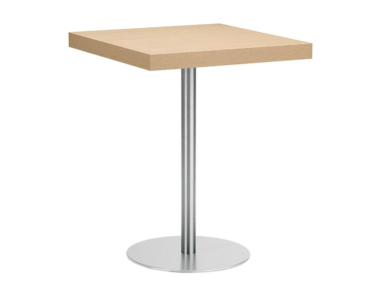 Square steel and wood table XT 494 - Metalmobil