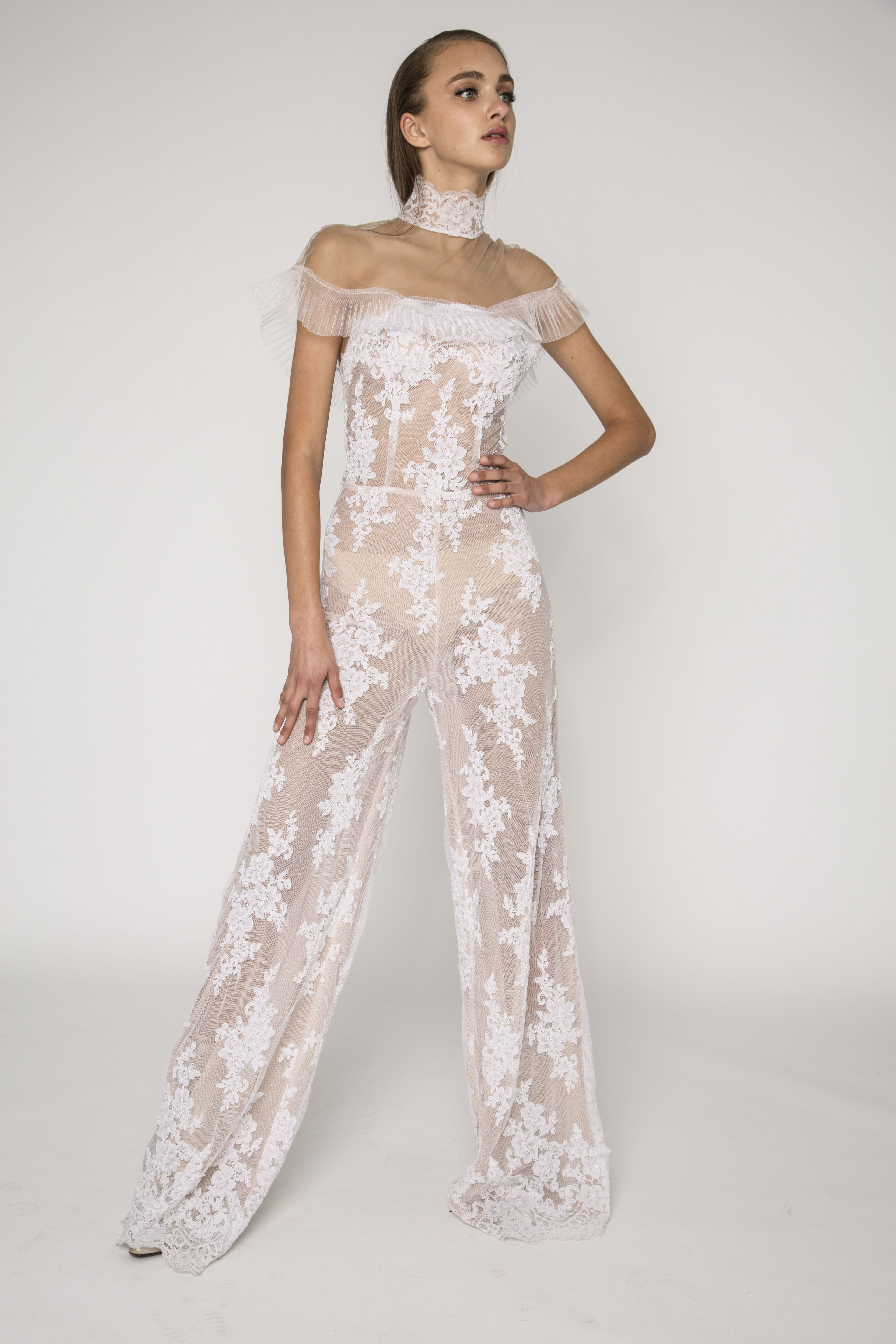 50ede59fd228 Vintage lace embellished sheer jumpsuit with off the shoulder pleated  japanese organza detailing and lace high