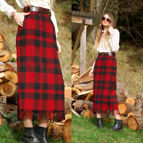 7f6de5811 WOOLRICH Plaid Wool Skirt with Fringe - 90's High Waisted Maxi Skirt -  Vintage Red and Black Buffalo Plaid Belted Long Wool Skirt 10 Large