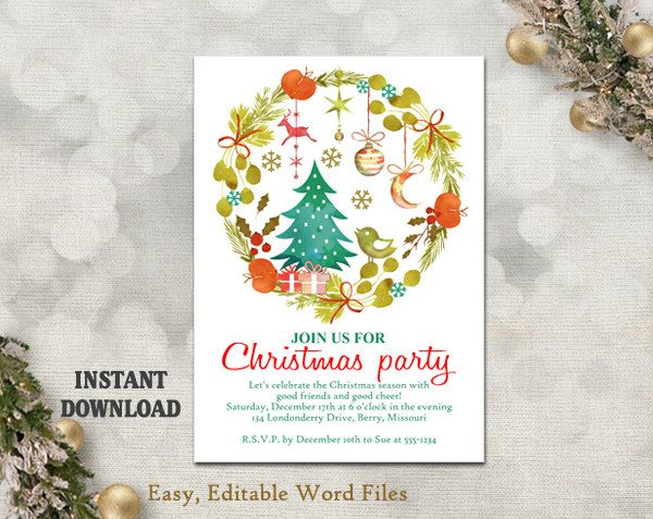 Printable Christmas Party Invitation Template - Wreath - Holiday - christmas card templates for word