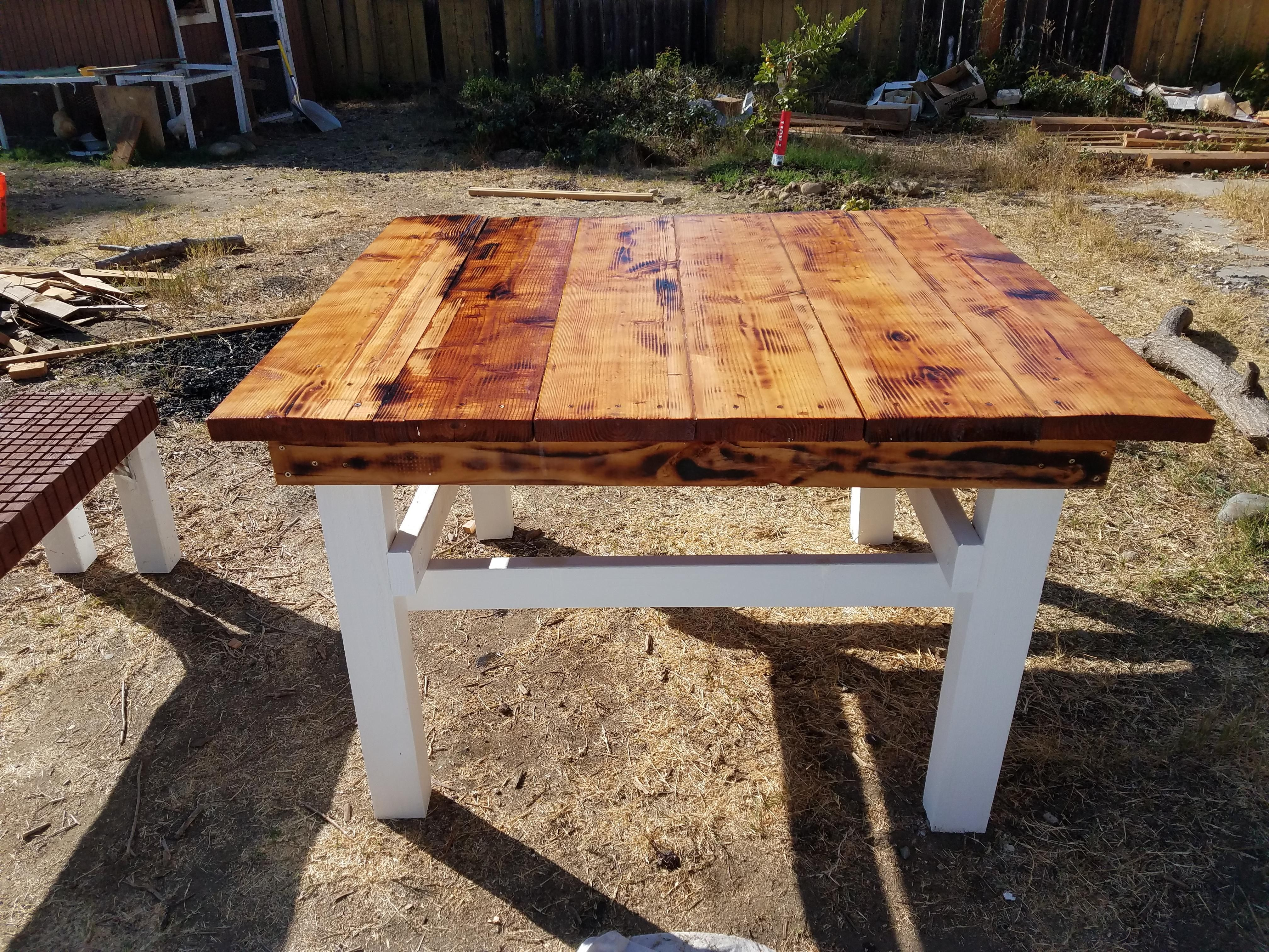 Made An Outdoor Table For The Yard All Out Of Free Wood From A Scrap Pile At The Local Lumber Yard It S Not Perfect But I M Into Outdoor Tables Table