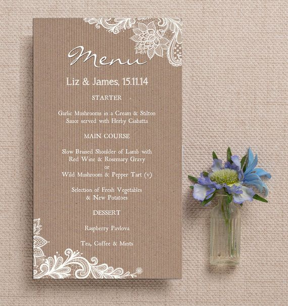 rustic vintage kraft and lace wedding menu cards. Black Bedroom Furniture Sets. Home Design Ideas
