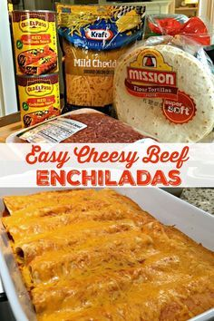 Easy Cheesy Beef Enchiladas (4 Ingredients) #dinnerideas