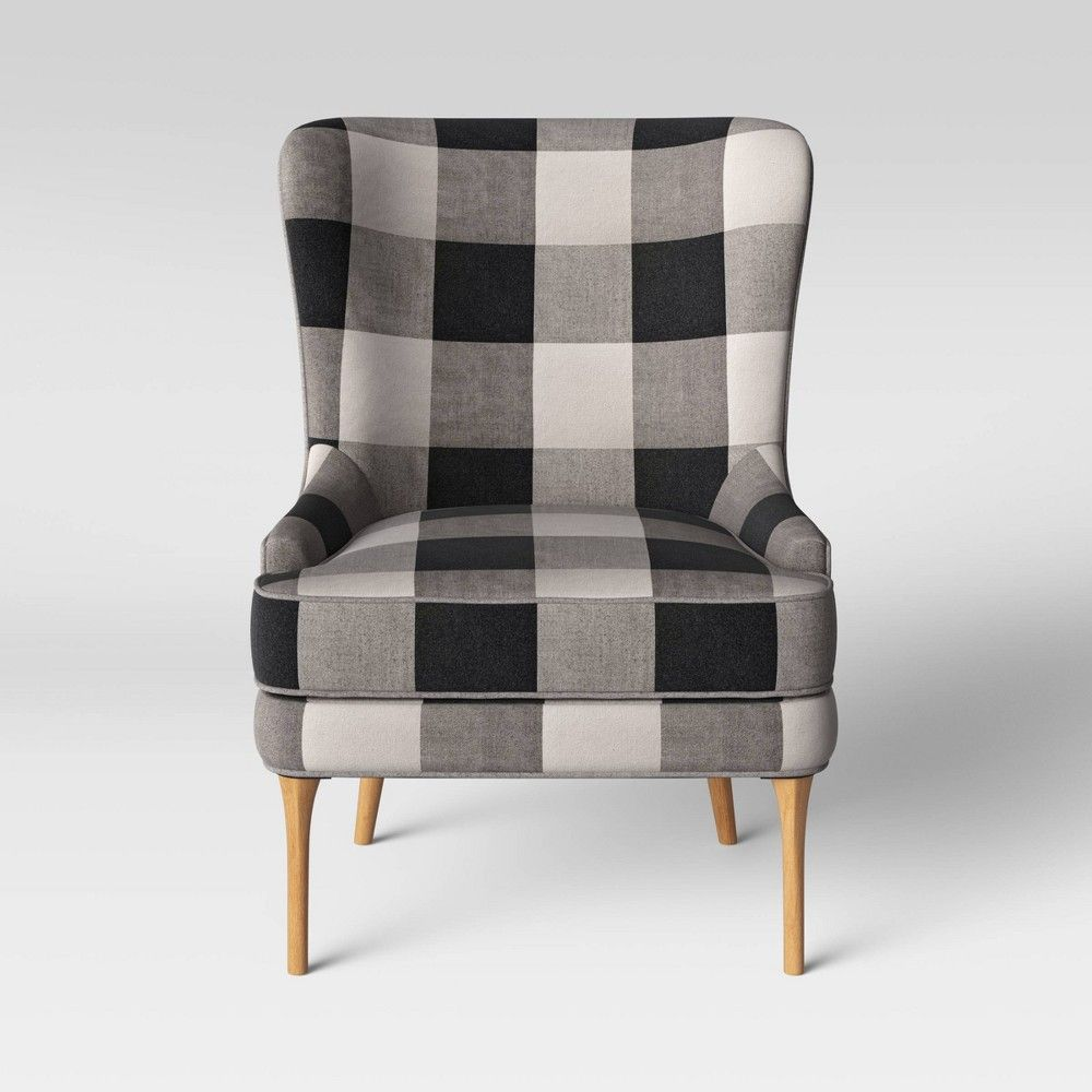 Best Cheswold Wingback Chair Check Black White Threshold 400 x 300