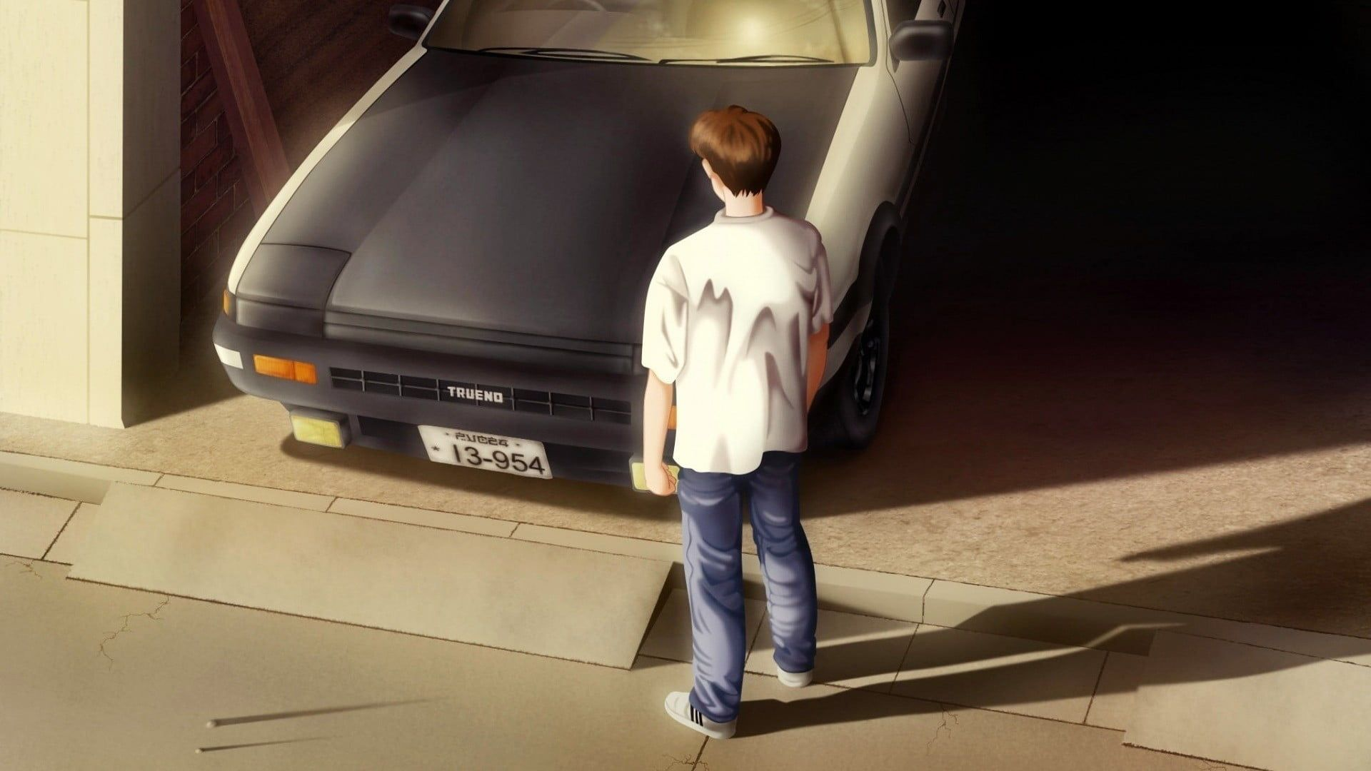 animated male character standing near car anime Initial D