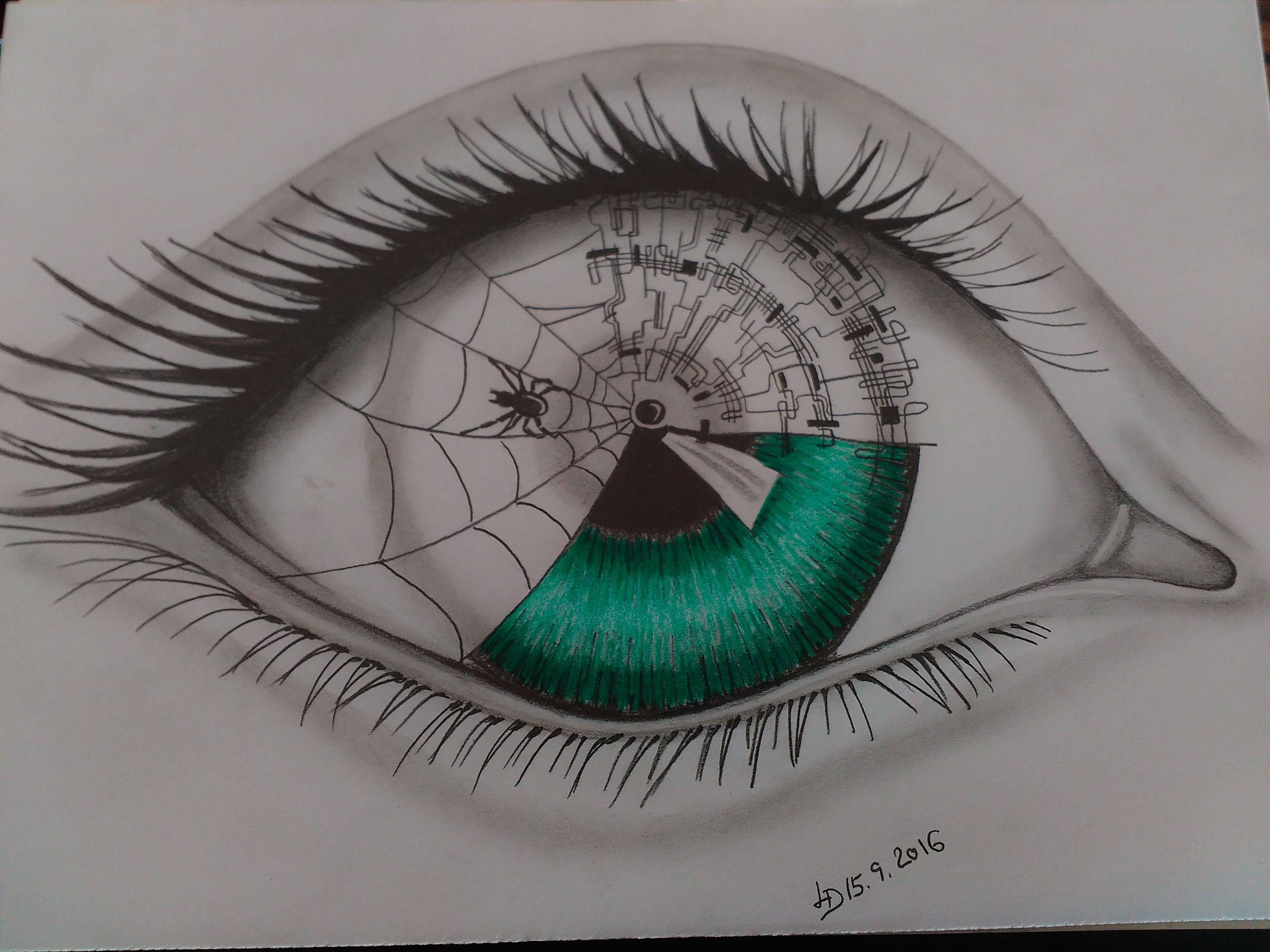 Drawing Pencil Kresba Tuzkou Oko Budoucnosti Kresby A Malby