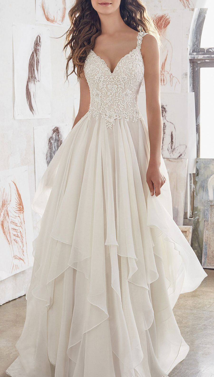 Unique V-Neck Wedding Dress Double shoulder with lace chiffon A-Line Bridal Gown
