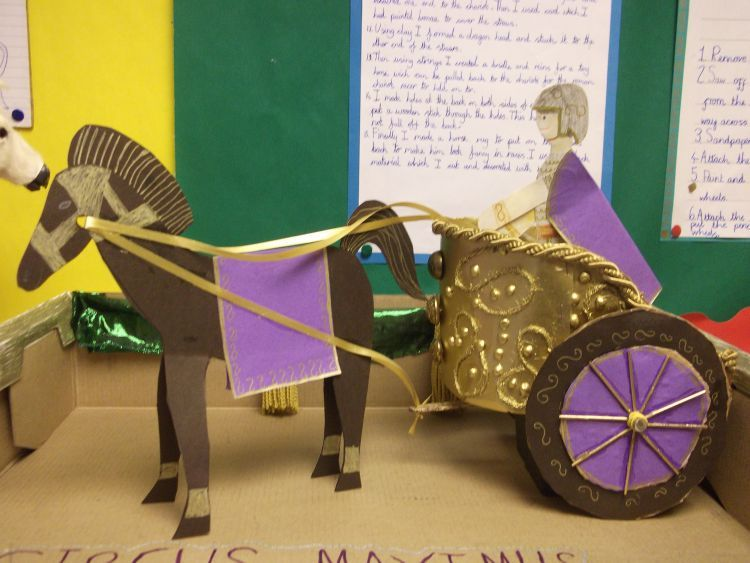 how to draw a roman chariot