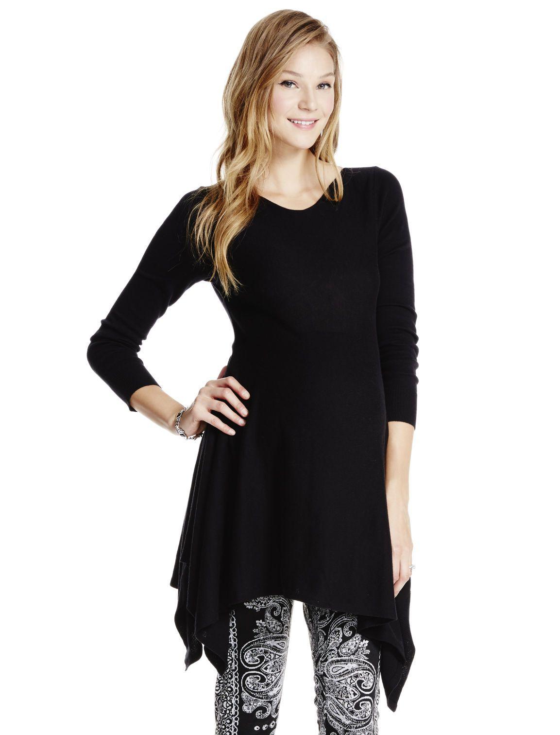 Wear with leggings | black long sleeve hanky hem maternity tunic ...