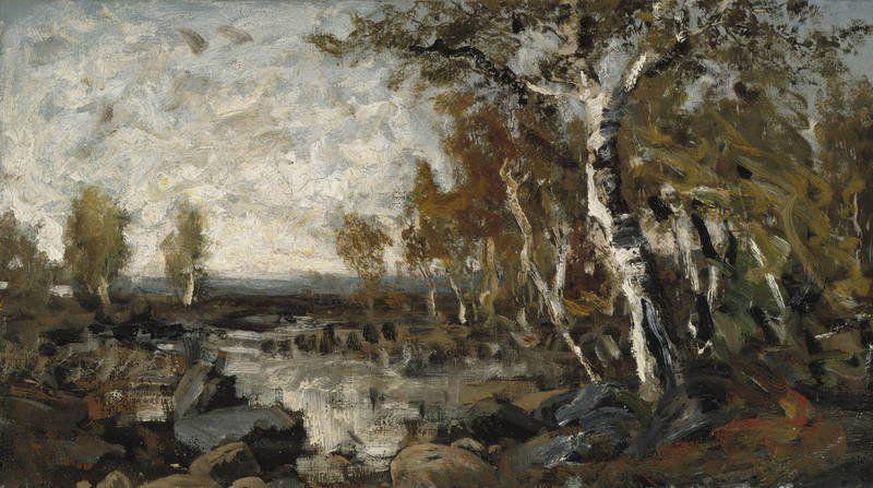 Birches by the Water, 1877 - study – oil on canvas, kiinnitetty kovalevylle – Churberg, Fanny  (1845-1892), Ateneumin taidemuseo - Churbergin tapa maalata hämmensi kriitikoita: osa palautteesta oli varovaisen myönteistä,osa oli jopa 1800-luvun mittapuun mukaan erittäin ankaraa.Teoksia kuvattiin raaoiksi,epäkypsiksi ja rumiksi.1880-luvun alussa Churberg lopetti maalaamisen, yhtäkkiä ja selittämättä.Lopettamisen taustasyitä pohditaan yhä.