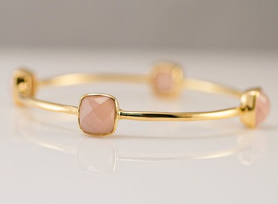 Bangle - Pink Chalcedony Bracelet - Gemstone Bangles - Bezel Set Bangles - Gold Bracelets - Bridesmaid bangles- Mother's Day Gift
