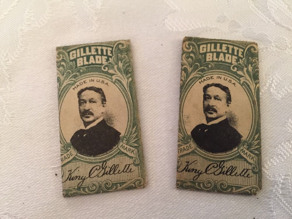 Two (2) Antique Gillette Razor Blades with Paper Holders