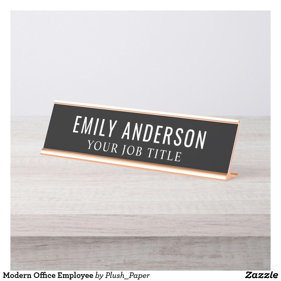 Modern Office Employee Desk Name Plate Zazzle Com Desk