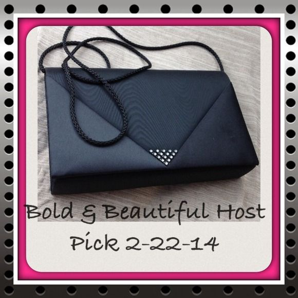 Black small purse detailed gems Bold &Beautiful Host Pick!!!:). Perfect for your phone, $, keys and lipstick or touch-up makeup! Bags