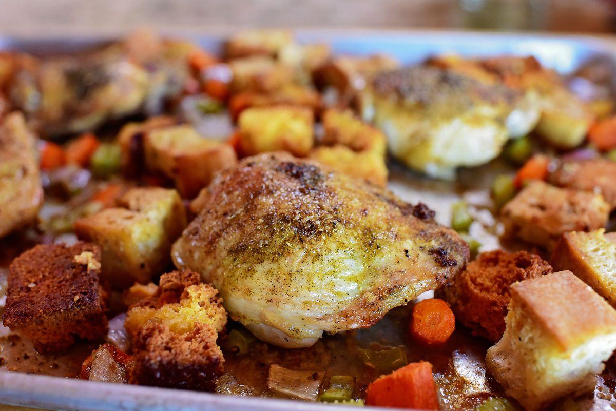 Chicken & Dressing Sheet Pan Supper #onepandinnerschicken