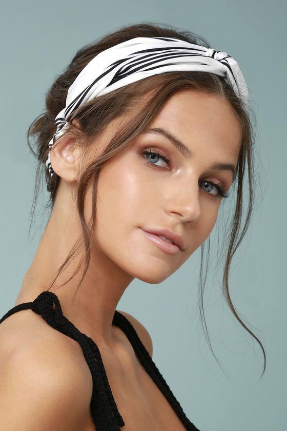 Away To Aruba Black And White Striped Headband Headband Hairstyles Cute Headband Hairstyles Thick Hair Styles