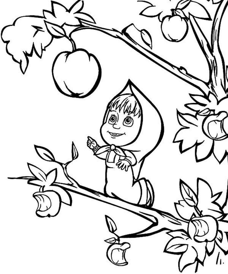 Printable Masha And The Bear Coloring Pages For Kids Dengan