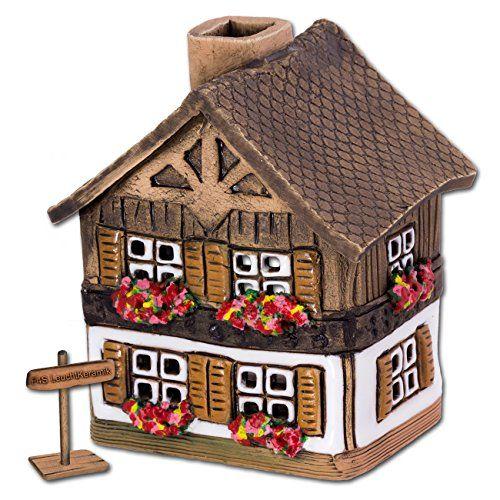 Lichthaus Bayernhäuschen weiß original Fit4Style Leucht-Keramik Handarbeit Deko-Häuschen Leuchthaus Räucherhaus DKH06W