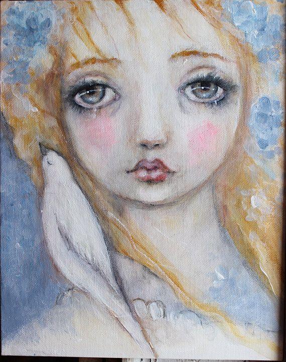 original girl child dove portrait sweet primitive by fadedwest, free bird...