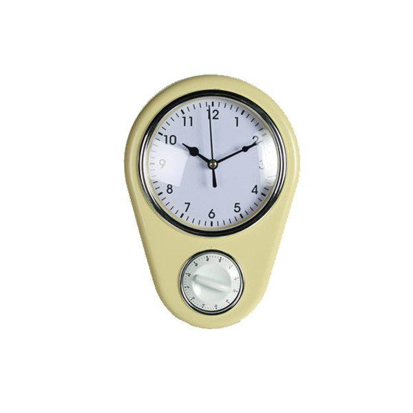 Reloj Kitchen minutero vintage retro crema beige pared cocina